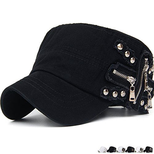 Rayna Fashion Unisex Adult Cadet Caps Military Hats Zip Studs Embroidery Patch (Studs Military Cap)