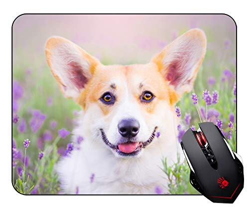 Cute Corgi Dog Mouse Pad Mosue Pad Gaming Mouse Pad Non-slip Mousepad for Girls and Boys ( Cute Dog and Lavender ) ()