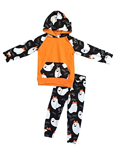 Little Girls' 2 Pieces Set Halloween Outfit Long Sleeve Hoodie Top Pants Clothing Orange 4 M (P400487P) for $<!--$22.99-->