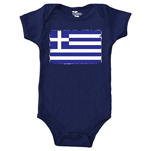 Tcombo Distressed Greek Flag - Greece Bodysuit (6M, Navy Blue) Cotton Distressed Onesie