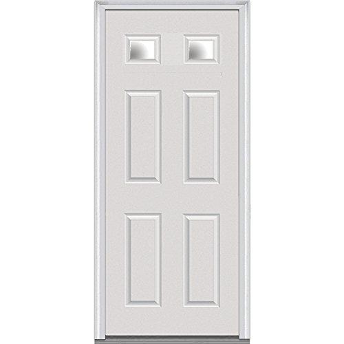 National Door Company Z000358L Fiberglass Smooth Primed, Left Hand In-swing, Prehung Front Door, 2-1/4 Lite 4-Panel, Clear Glass, 36