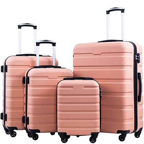 Coolife Luggage 3 Piece Set Suitcase Spinner Hardshell Lightweight TSA Lock 4 Piece Set (Family Set-Sakura Pink)