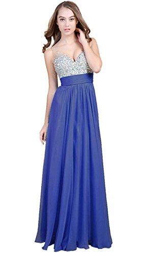 Fanhao Women's V Neck Sequins Chiffon Bridal Evening party Long prom dress,Blue,2