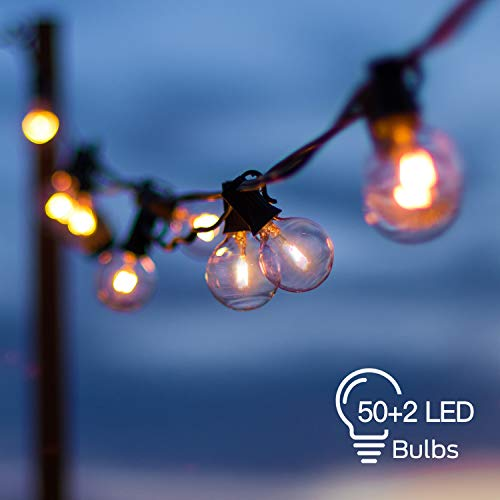 Globe String Lights with 50+2 Clear G40 LED Bulbs, Hanging Outdoor String Lights Connectable Waterproof for Indoor Bedroom Patio Garden Porch Wedding Party Christmas, Black Wire