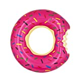 Topfunyy Donut Pool Floats Summer Themed Inflatable Swimming Rings Tubes for Adults(90cm/35.5inch) ,Strawberry