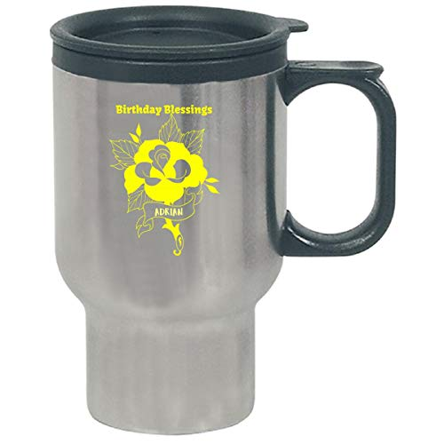 Cup Adrian (Adrian Birthday Blessing Yellow Celebration Greeting - Travel Mug)