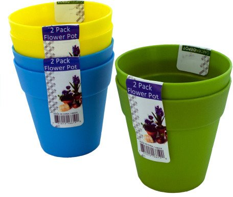 DDI 1277971 Plastic Flower Pots 2 Pack Assorted Colors Ca...