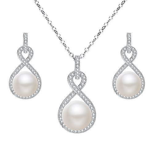 (EleQueen 925 Sterling Silver CZ AAA Button Cream Freshwater Cultured Pearl Bridal Jewelry Necklace Earrings Set Ivory)