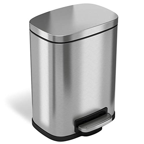 iTouchless SoftStep 1.32 Gallon Stainless Steel Step Trash Can, 5 Liter Pedal Bathroom Bin, Removable Inner Bucket, Soft and Silent Open and Close
