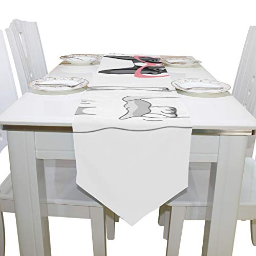 Menedo Table Cover Glasses Dog Popular Style Natural Table Runner Farm Table Cloths for Kitchen Dining Room Decoration Office Place Mats Table Overlays 13x90 Inch