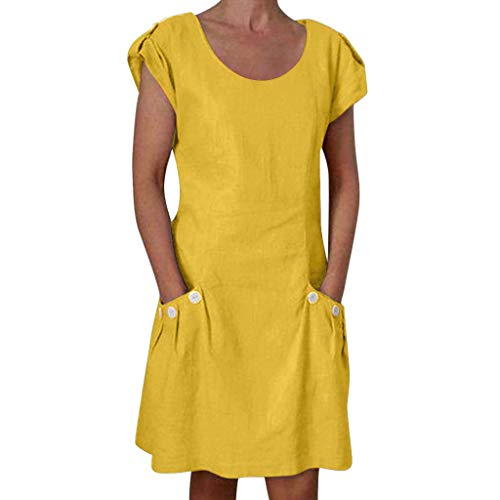 Big Sale! Wintialy 2019 Women Casual Solid Ruffled Pockets O-Neck Shift Daily Buttoned-Decor Dresses Yellow