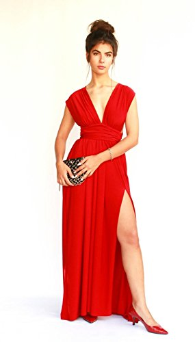 Women's Infinity Red Prom Dress, Bridesmaid Evening Dress, Maxi Long Dress for Wedding, Elegant Lycra Gown by Guy Sharon