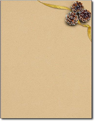 Three Pinecones Christmas Holiday Letterhead Paper - 80 ()