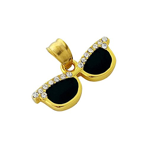 18k Gold Plated Iced Sunglasses Turntable Pendant Stainless Steel Necklace with 24