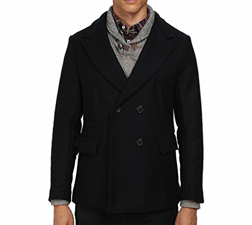 Image of Billy Reid Men's Wool Double Breasted Bond Peacoat With Leather Details, Navy, X-Large