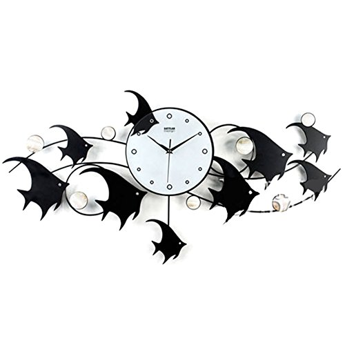 Iron Fish Clock,Silent Wall Clocks Personalized Creative Clock Modern Minimalist Art Watch Clock Shell Metal Black
