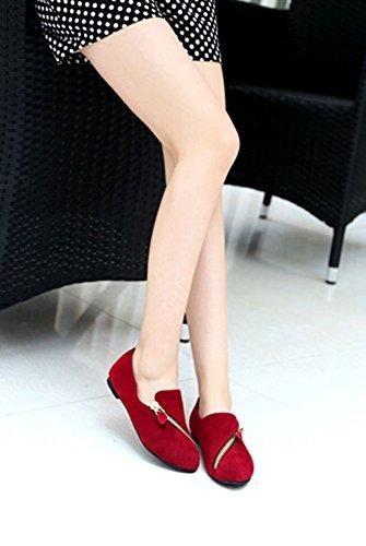 2015 neue Art und Weise Frühling Herbst ZipperDekoration Leder Plattform-Schuh-Frauen-Schuh- Round Toe Frauen Flats rote