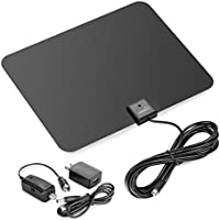 ViewTV 50 Mile Silver Series Flat HD Amplified Digital Indoor TV Antenna with Detachable Signal Amplifier - 10 FT Copper Coaxial Cable - Black / White