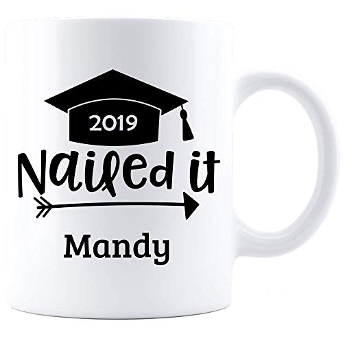 Personalized!! 2019 Graduation Cap Gifts Mug Unique Grad Gift for Men Women Funny Graduate Coffee Cup Custom Name Graduation Printed on Both Sides!