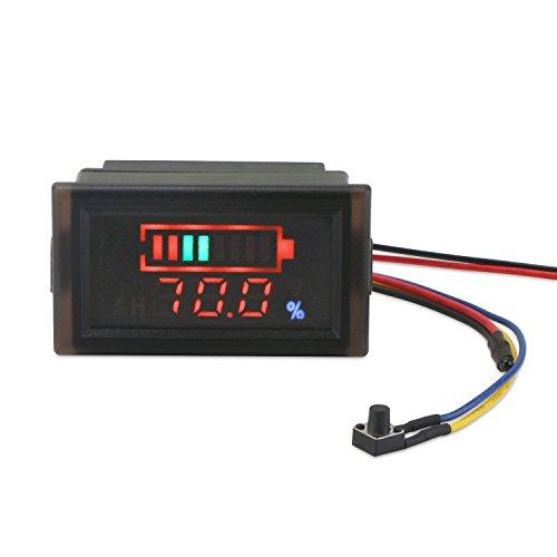 DROK Waterproof LED Digital Battery Volt Meter DC 12V 24V 36V 48V 60V 64V 72V Acid Lead/Lithium Polymer Battery Capacity Indicator Thermometer Voltage Temperature Guage Monitor for Electromobile