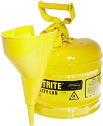 Justrite 7120210 2 Gallon, Galvanized Steel Type I Yellow Safety Can With Funnel