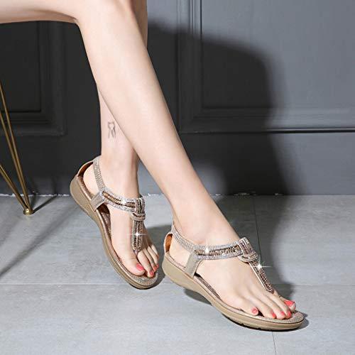 D'été Élégantes Chaussures Pour Darringls Jewel Mer Tongs Sandales Strass D'été Embellished Élégant Avec Chaussures Femmes Or Oft56qtx