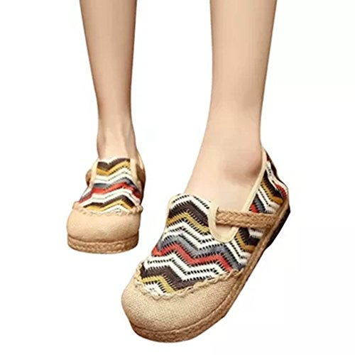 Womens Retro Loafers Flat Moccasin Exotic Slip-on Round Toe Linen Strape Colorful Casual Shoes White 6dMbIAs