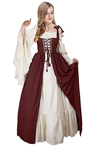 (Newcos Boho Renaissance Costume for Women Halloween Irish Medieval Dress)