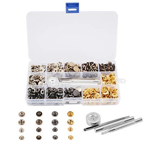 Bertong 120 Set Druckknöpfe Kit Metall Druckknöpfe Druckknöpfe mit 4 Fixierwerkzeug Nähen Handwerk for Ledertasche…
