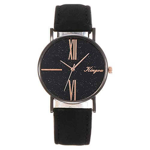 Mitiy Fashion Geneva Roman Numerals Faux Leather Analog Quartz Women Wrist Watch for Men Women Bracelet Watch