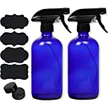 2 Pack - SimpleHouseware 16oz Blue Glass Spray Bottles with Chalk Labels