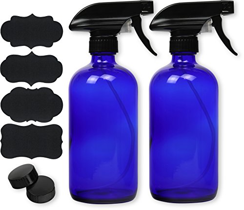 - 2 Pack - SimpleHouseware 16oz Blue Glass Spray Bottles with Chalk Labels