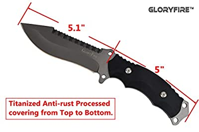 GLORYFIRE Tactical Hunting Knife Fixed Blade Serrated Edge AUS-8 Stainless Steel Blade Outdoor Survival Emergency Kit Full Tang Titanized Anti-Rust Processed Arc Hand Protected with Nylon Sheath