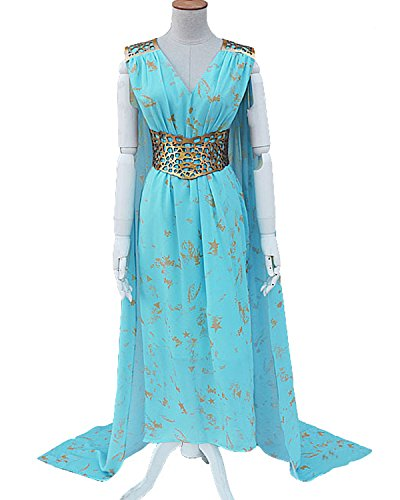 Aifang Women's Halloween Game of Thrones Cosplay Costume Daenerys Targaryen Mother of Dragons Cosplay Dress XL