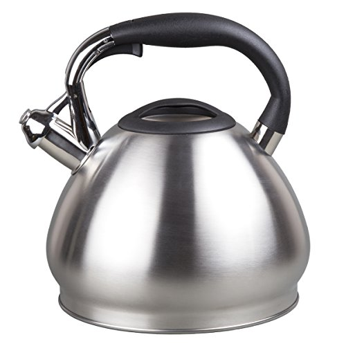 Creative Home Triumph 3.5 quart Stainless Steel Whistling Tea Kettle with Aluminum Capsulated Bottom, Brushed Finish, , Silver (Steel Tea Stainless Kettle Aluminum)