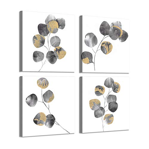 (Nature Leaf Artwork Picture Painting: Golden Gingko Twig Graphic Print on Canvas for Wall Art)