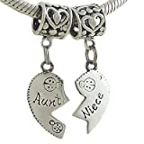 Aunt and Niece Heart Sterling Silver Bead Charms for European Bracelet