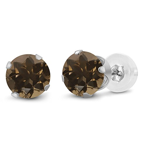 - Gem Stone King 1.60 Ct Round 6mm Brown Smoky Quartz 10K White Gold Stud Earrings