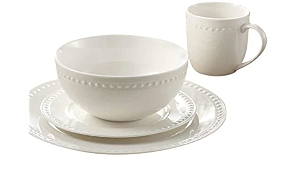 AM02585 Embossed Round Rim Pearl Dinnerware Set White Dinnerware Sets  sc 1 st  Amazon.com & Amazon.com | Safdie u0026 Co. AM02585 Embossed Round Rim Pearl ...
