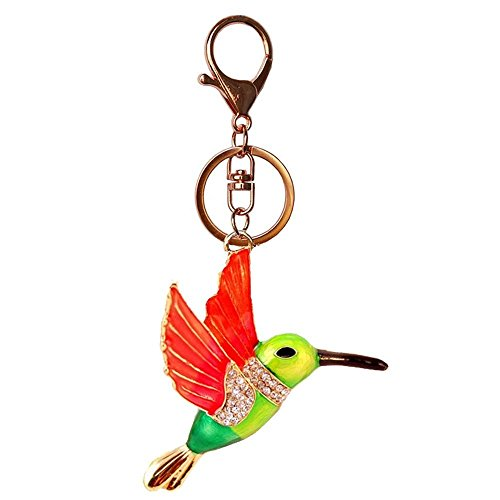 JewelBeauty Hummingbird Keychain Flying Bird Animal Feature Keychain Sparkling Keyring Rhinestones Purse Pendant Handbag Charm