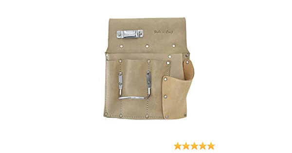 Style n Craft 92-485L 6 Pocket Drywall Hangers Tool Pouch in Heavy Duty Grey Top Grain Leather for left handers
