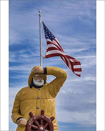 Media Storehouse 10x8 Print of Fisherman Statue Outside Goodrich Seafood, Oak Hill, Florida, USA (19037038) ()