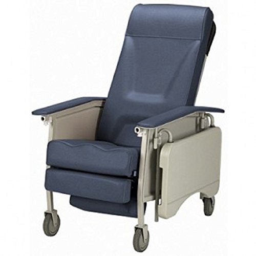 Three Position Reclining Chair with Collapsible TV Table - Invacare 3 Position Geri Recliner - Blue Ridge -Easy Clean for Disability