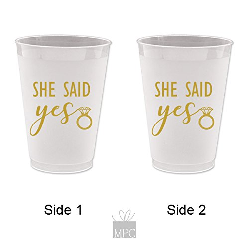 She Said Yes, Wedding, Bachelorette or Wedding Shower, Frost Flex Plastic Cups (10 cups)