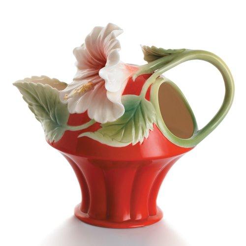 - Franz Porcelain Island Beauty hibiscus flower creamer