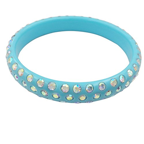 Multi Color Resin with Rhinestones Bangle Bracelet (Light Blue with AB Iridescent) from Gypsy Jewels
