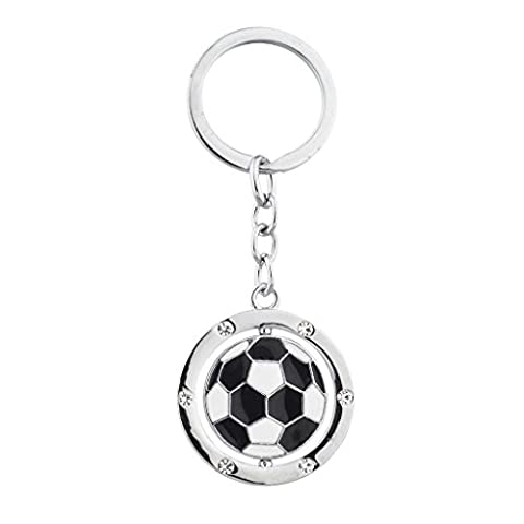 Lux Accessories Silvertone Soccer Ball Sports Black and White Keychain