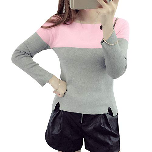 Dihope, Femme Pullover Pulls Sweat Casual Vintage Top Manches Longues Sweater Sweatshirt Automne Hiver Rose