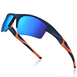 Avoalre Men and Women Sports Sunglasses Anti-Glare Glasses Unbreakable Eyewear with Case Perfect for Driving Skiing Running Cycling Golfing and Gift Choice (Blue)