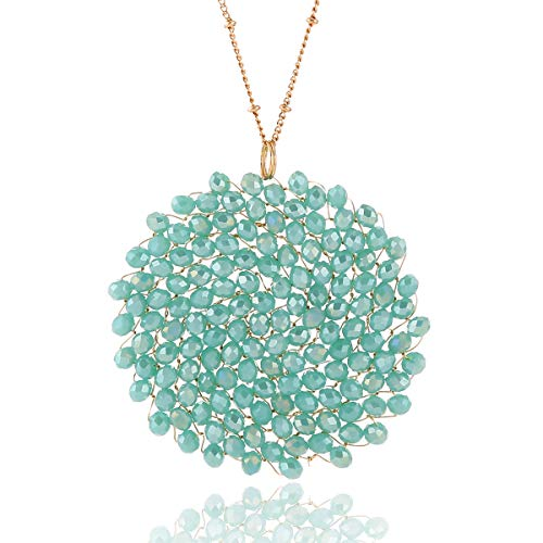 - Niumike Hand-Made Crystal Pendant Circle Disc Necklace for Women,Charming Long Necklaces with Statement Pendant, Box (Green)